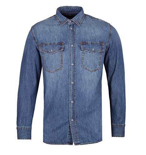Blue Chambray Work Shirt (Diesel Rooke Mid Blue Chambray Work Shirt - MEDIUM)