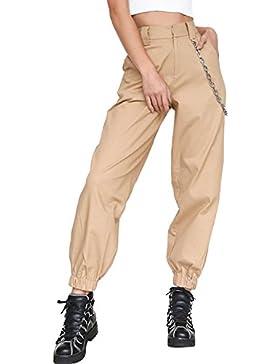 La Mujer Casual Solid Pantalones
