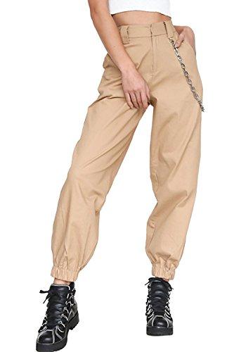 Sevozimda La Mujer Casual Solid Pantalones Cargo Pantalones Largos Deportivos Pantalones Regulares Khaki S
