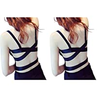 Dilency Sales Women Backless 2 Cross Stripes Bralette Cum T-Shirt Bra Padded with Soft Cups Free Size (30-34) Removable…