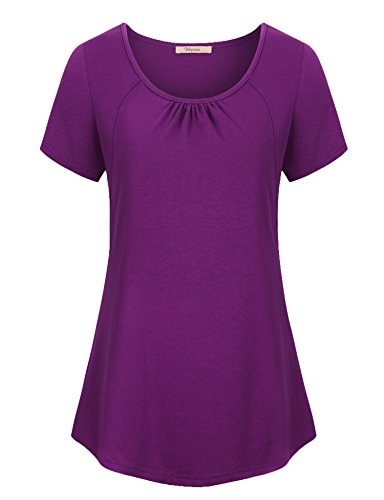 Bebonnie Tunika Tops Plus Size, Frauen Stricken Comfy Kurzarm T-Shirt Geraffte Kn?pfe Casual Top Magenta 2X-Large (Vielseitige Stricken Leggings)