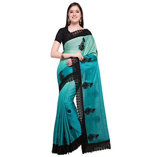 Womanista Synthetic Saree with Blouse Piece (FS9556!_Turquoise Blue!_One Size)