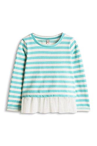 Esprit Mädchen Sweatshirt mit Schösschen, Gestreift, Gr. 128 (Herstellergröße: 128/134), Blau (Turquoise 2 471)