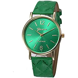 WINWINTOM Roman Leather Band Analog Quartz Wrist Watch Green