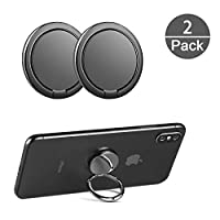 CHOELF Phone Ring Holder, 2 Pack Phone Finger Grip 360° Rotation Finger Ring Stand Universal Metal Kickstand for Mobile Phones iPhone Samsung Galaxy HUAWEI Sony Tablet and more Smartphones- Black