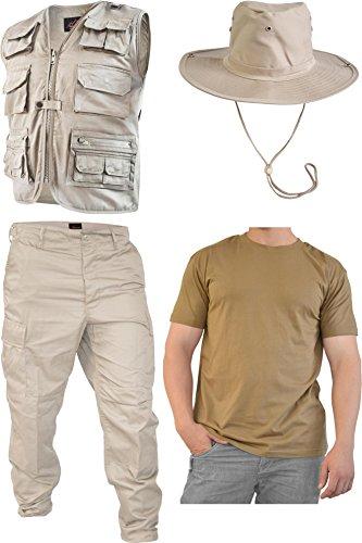 SAFARI Dschungel Kostüm Safarianzug mit Weste, Hose Shirt und Buschhut Größe (Kostüm Safari)