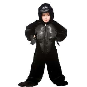 Gorilla enfant Costume de déguisement animal de jungle Onesie d'équipement de partie des enfants (grands 7-8 ans)