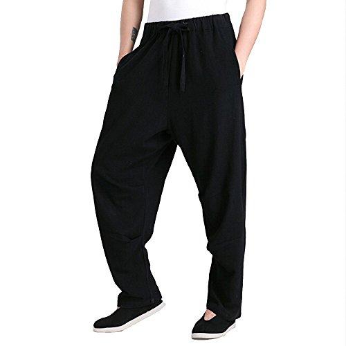 Harem Pants–Kung Fu Thai Cargo Boho Hippie Baggy Buddha Yoga Ballon lose Gypsy Aladdin Chinesische Große Tasche Bloomer Hose Kleidung für Frauen Herren–Leinen und Baumwolle, grau (Damast-ballons)