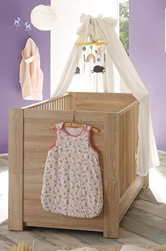 trendteam Babyzimmer Babybett Kinderbett Carlotta, 144 x 83 x 76 cm in Eiche Sägerau Hell Dekor mit drei Schlupfsprossen und 3-fach höhenverstellbarem Matratzenrahmen