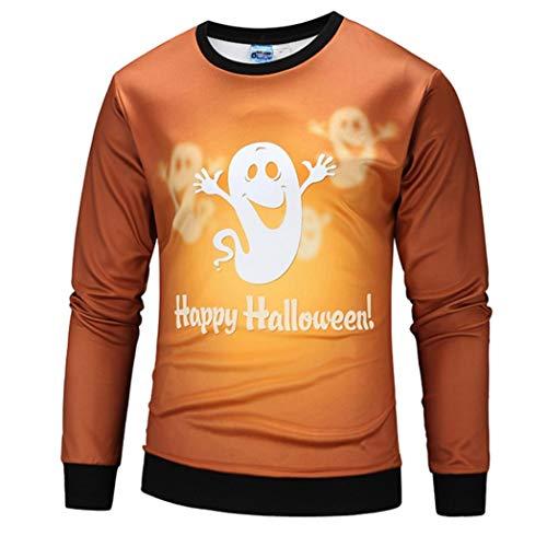 Herren Pullover -Beiläufige Gruselige Halloween-Kürbis 3D Print Party Langarm Hoodie Top Bluse-Herren Strickpullover Feinstrick Pullover mit -Modern-Slim Fit - Freizeit Top (Gelb,S)