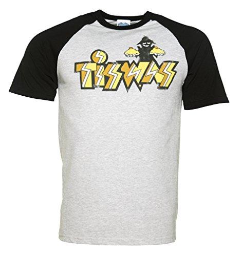 Mens Tiswas Logo Heather Grey Baseball Ringer T Shirt