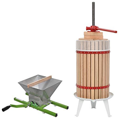 vidaXL Obstpresse Mühle Set Maischepresse Weinpresse Apfelpresse Saftpresse Entsafter Beerenpresse Obstmühle Traubenmühle Beerenmühle 2-TLG. 30L 7L