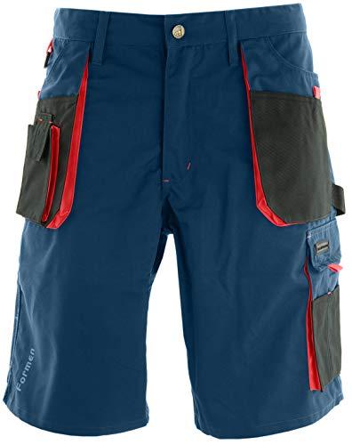 Reis Kurze Arbeitshosen Herren mit Werkzeugtasche - Arbeitsshorts für Garten, Werkstatt und Arbeit, Blau-Rot, Größe M