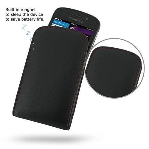 PDAir BlackBerry Q10 Leder Tasche Handyhülle Hülle (Rot Stich), Schutz Leder Hülle Handyhülle Leder Tasche Hülle, Luxus Prämie Vertical Tasche Für BlackBerry Q10 (NO Gürtelclip) (Blackberry Otterbox Q10)