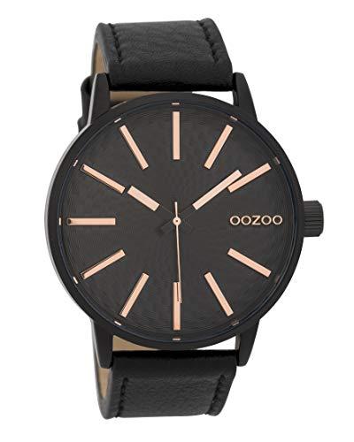 Oozoo Herrenuhr mit Lederband 45 MM Schwarz/Rose/Schwarz C9609 -