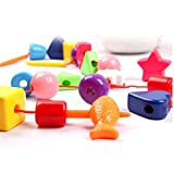 #6: Magideal Childrens Plastic Lacing Stringing Threading Shape Blocks Kids Learning Toy