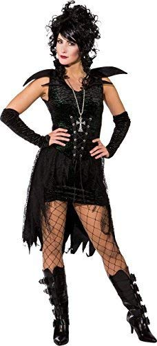 itch Fee Nymphe Gothischer Vampir Halloween Horror Kostüm Kleid Outfit UK 6-16 - Schwarz, UK 6-8 (EU 34/36) ()