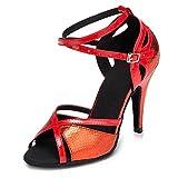 SWDZM Donna Scarpe da Ballo Latino/Standard Ballroom/Scarpe da Sposa Model-L028 Tacco 3.35 '' Rosso 35EU