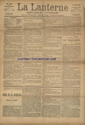 LANTERNE (LA) [No 133] du 16/01/1887 - LE SCARABEE PAR BERGERAT - LES PETITS ENFANTS PAR BOUVIER - L'ANGE ECONOME PAR DARC - CHENU ET COMPAGNIE PAR LANCELIN - UN OBJET D'ART PAR OSMOND - LE CHEVALIER DE BOUFLERS PAR MEMOR - LA SANTE PUBLIQUE PAR LE DR MARC - FEUILLETONS / LA MERE DE LA MARQUISE PAR ABOUT - ET TIMOLEON POLAC PAR CHAVETTE