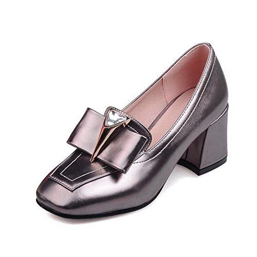 AgooLar Femme à Talon Correct Couleur Unie Tire Matière Mélangee Carré Chaussures Légeres Gris