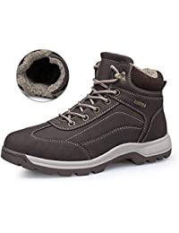 ba98048213d1 Winter Snow Boots Warm Mens Leather Cosy Ankle Boots Fully Fur Lined  Walking Hiking Lace Up