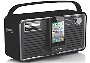 View Quest RETROWF-BK/G Retro Internet Radio with iPhone and iPod Speaker (Wifi, DAB, DAB+ and FM) - Black/Grey  30 pin connector / iPhone 1 2 3 4