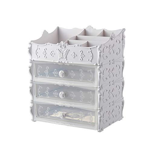 5 Schublade Schlafzimmer-kommode (DevilLover Make-Up Veranstalter EuropäIschen Multifunktionalen Prinzessin Schublade Kosmetische Aufbewahrungsbox Desktop Kommode Schlafzimmer,White)