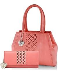 Butterflies Women's Handbag and Wallet Combos' (Dark Peach) (BNS WB0270)