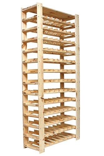 Lenmar Weinregal Weinregal Holz Flaschenregal für 91 Flaschen + Ablage Böden Massiv 5-3