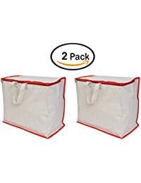 Shopping Grocery Vegetable Bag Combo Of 2 With Reinforced Handles & Thick Base With Storage Covers Zip (K61)