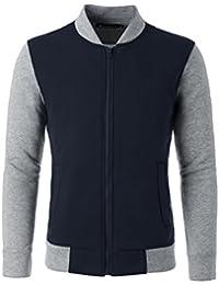 Sourcingmap Allegra K Men Color Block Stand Collar Zipper Front Cozy Outdoor Varsity Jacket