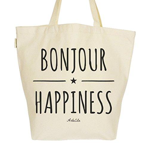 Grand Sac Cabas Fourre-tout Imprimé Toile Bio 37x45x20cm Tote Bag XL - Bonjour Happiness !