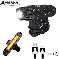 AMANKA Luces Bicicleta USB Recargables Super Brillante Impermeable LED Bicicleta Set de Luces Bici 400 Lúmenes Sensor Inteligente para Bici Linternas LED Ciclismo Seguridad