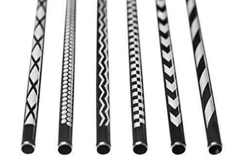 DREABA Edelstahl Trinkhalme graviert - Wiederverwendbare Metall-Strohhalme mit Muster-Gravur 6er Premium-Set (schwarz/eckig) -
