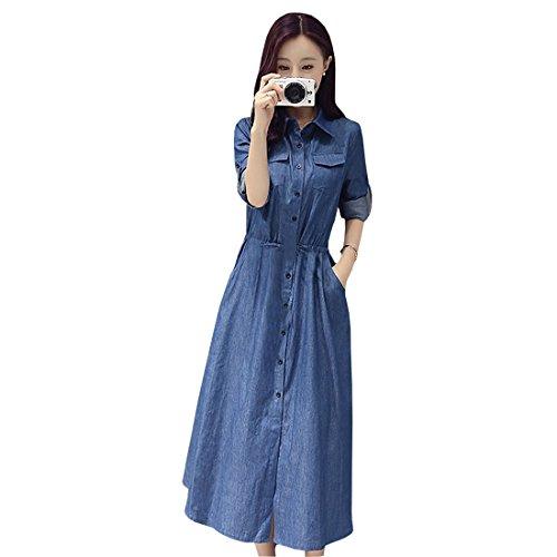 Feeldiff Blue Denim Casual western Dresses