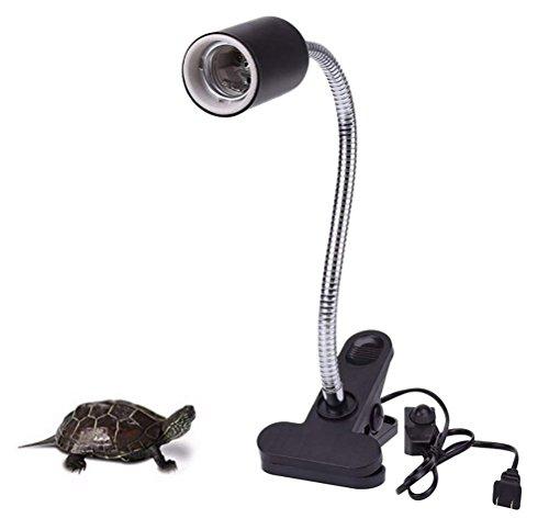 TUDIO Schwanenhals Lampenhalter Keramikfassung Klammer Für Wärmelampe Strahler Fassung Reptil Inklusive Glühbirnen -