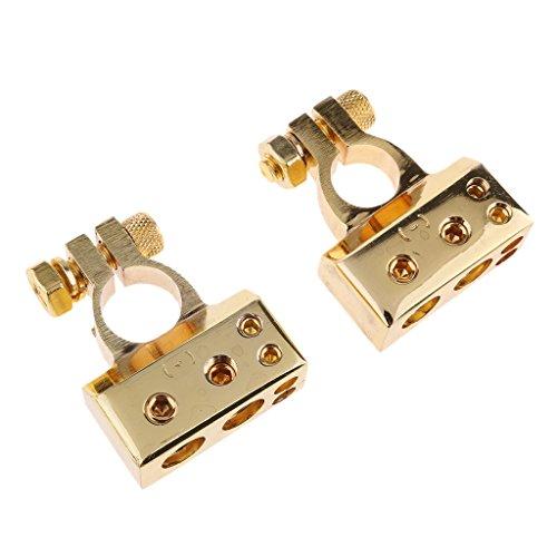 Preisvergleich Produktbild Sharplace 2 Stück Autobatterie Klemmen Batteriepolklemme Clips Stecker - Gold (2GA × 1 + 4GA × 1 + 8GA × 2)
