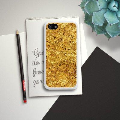 Apple iPhone 4 Housse Étui Silicone Coque Protection Or Brillance Motif Housse en silicone blanc