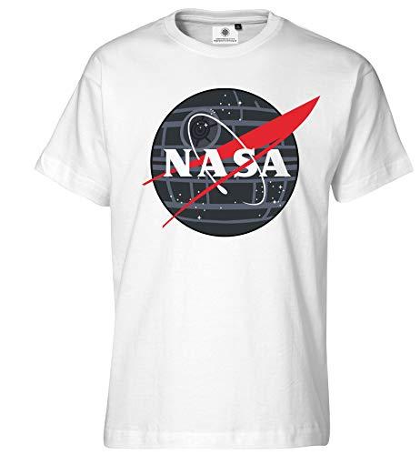 Behörde Weißes T-shirt (Customized by S.O.S Bedrucktes Herren NASA T-Shirt Star Wars Todesstern (L, Weiß))