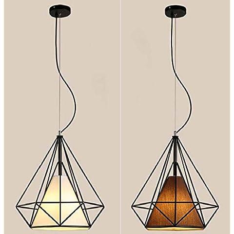 KHSKX Ciondolo diamante di villaggio gabbia in ferro battuto, lampadario di ristorante retrò creativo arte bar eoliche industriali