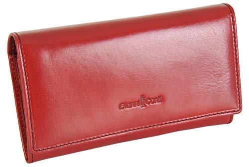 Signature Rot Leder (Gianni Conti Fein Italienisches Leder Groß 5 Karte Portemonnaie Geldbörse in 3 Farben - 908021 - L, Tief Rot, L)