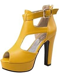 TAOFFEN Mujer Peep Toe Sandalias Moda Tacon Ancho Plataforma Tacon Alto Al Tobillo Zapatos