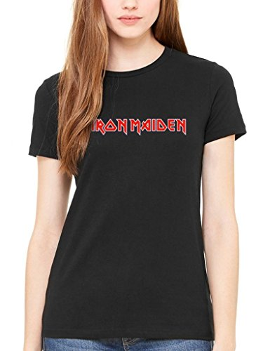 Iron Maiden Logo Classico Maglietta da donna Rock Heavy Metal Band Merch Black Medium