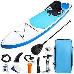 KUOKEL Stand Up Paddle Gonflable 320 * 76 * 15cm avec Pompe Haute Pression, Pagaie/Leash/Sac/Étui à téléphone étanche, Aileron Central Amovible, Siège Détachable Kit de Planche à Pagaie