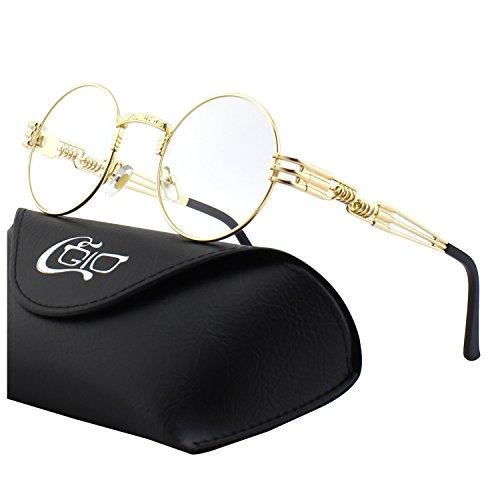 CGID Retro Sonnenbrille im Steampunk Stil, runder Metallrahmen, polarisiert, für Frauen und Männer, E73
