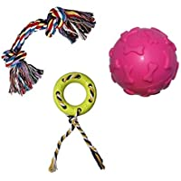 Non-Toxic Rubber and Cotton Chew Toy Combo of 3 Pcs. for Puppies