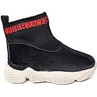 zj Zapatillas Altas para Niños Zapatillas para Niños Otoño E Invierno Calcetines Largos de Algodón Y Punto para Niños Zapatillas Zapatillas Ligeras,Negro Rojo,26