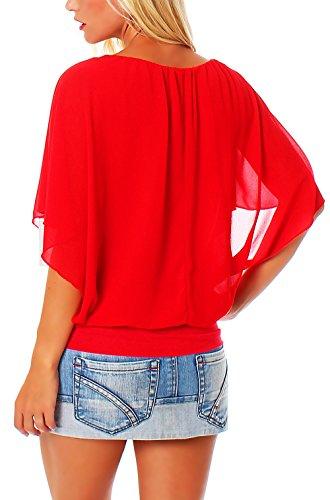 Malito Élégant Blouse Tunique Haut Loose Oversize 6296 Femme Taille Unique rouge