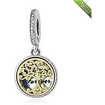 PANDOCCI Bricolaje se adapta a la pulsera de Pandora encantos de las raíces de la familia con el oro 14K plateado 100% 925 joyas de cuentas de plata de ley