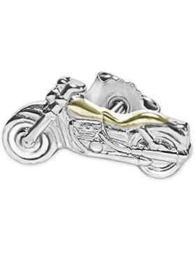 CLEVER SCHMUCK Silberner einzelner kleiner Single Ohrstecker Mini Motorrad 8 x 4 mm teilvergoldet glänzend bicolor...